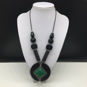 Chico's Black Green Beaded Statement Necklace